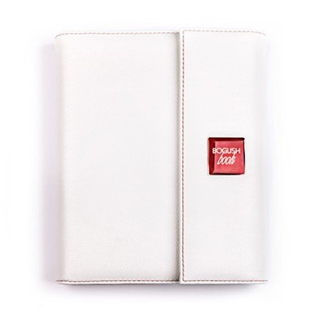 BogushBook в обложке из кожи с клапаном, белый с красной отделкой