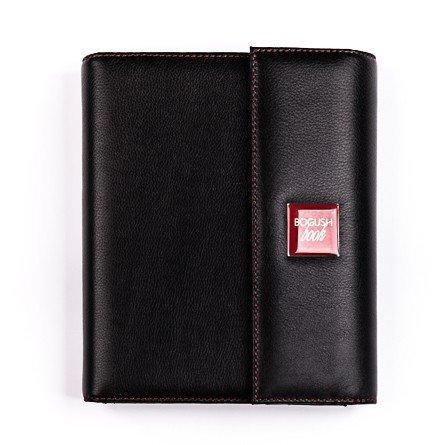 Стильный «Богушбук» класса «люкс», выполненный из натуральной итальянской кожи черного цвета и дополненный красной шильдой