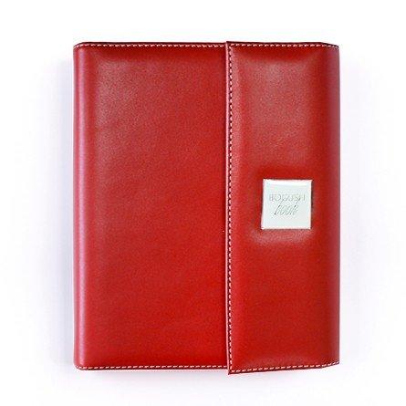 BogushBook в обложке из кожи с клапаном, красный с белой отделкой