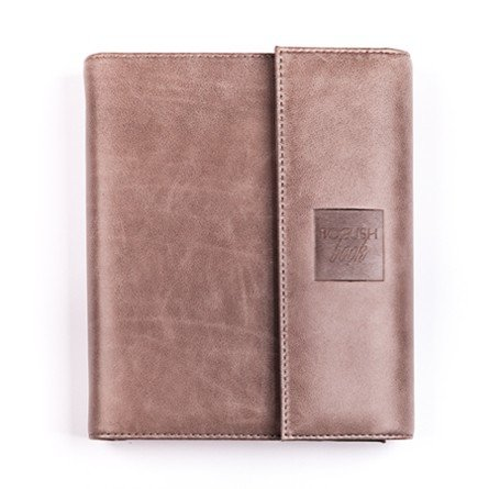 BogushBook в обложке из кожи с клапаном, серый